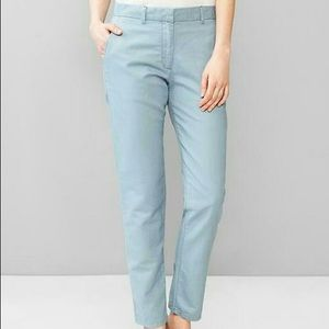 GAP Sky Blue Broken In Straight Linen Khaki Pants